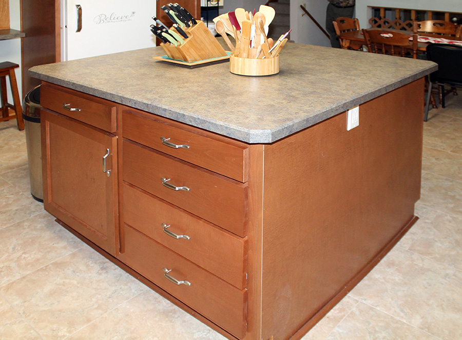 Beech Kitchen Island With View Of Drawer Front And Cabinet Door Detail