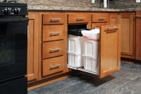 beech kitchen wastepaper pullout